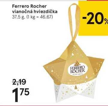 Ferrero Rocher vianočná hviezdička, 37,5 g