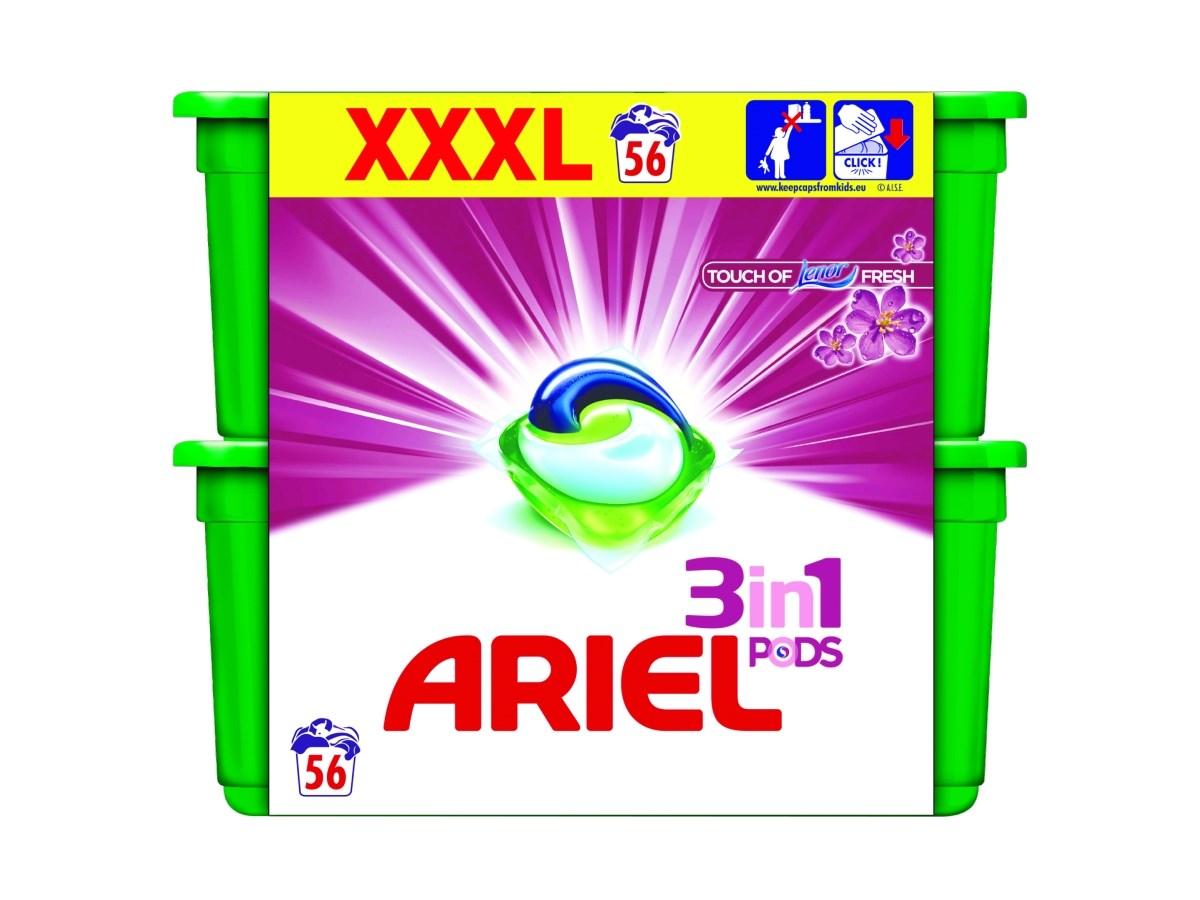 Ariel Touch of Lenor gelové tablety 2x28 ks
