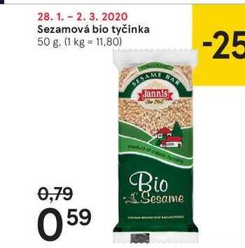 Sezamová bio tyčinka, 50 g