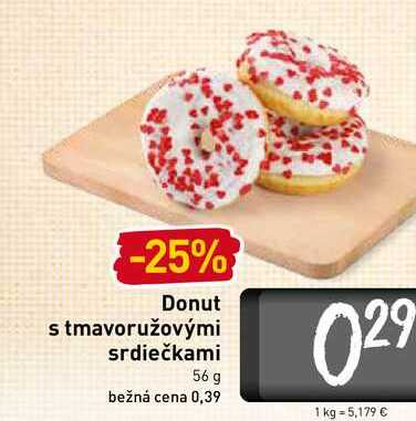 Donut s tmavoružovými srdiečkami 56 g