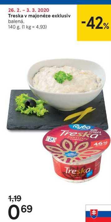Treska v majonéze exklusiv, 140 g