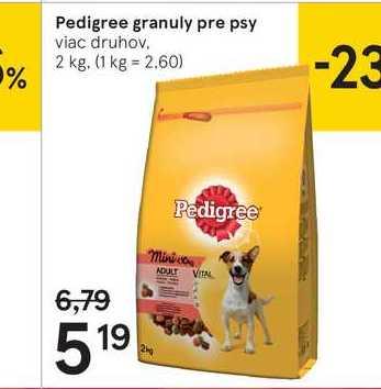 Pedigree granuly pre psy, 2 kg