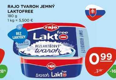RAJO TVAROH JEMNÝ LAKTOFREE 180 g