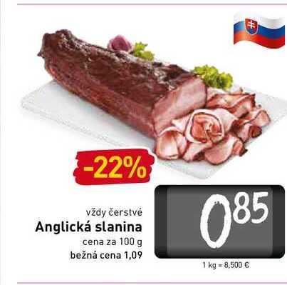 Anglická slanina  100 g