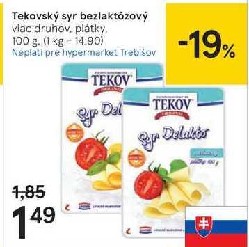 Tekovský syr bezlaktózový, 100 g