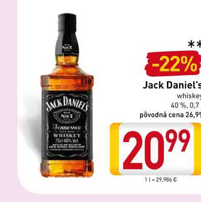 Jack Daniel's  Tennessee whiskey 0,7 l