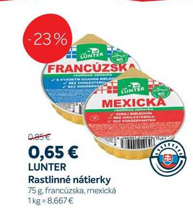 Lunter Rastlinné nátierky 75 g