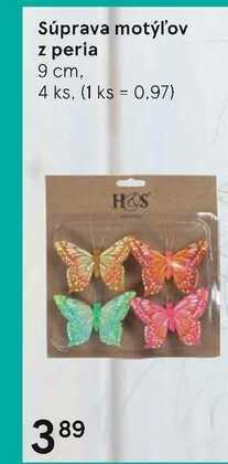 Súprava motýľov z peria