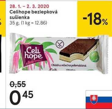 Celihope bezlepková sušienka, 35 g