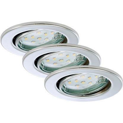 Briloner LED vstavané svietidlá 3-dielna súprava chróm