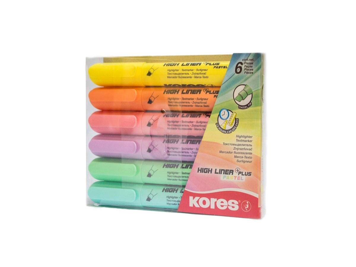 Zvýrazňovače K-Marker Plus Pastel Kores 6 ks
