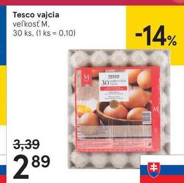 Tesco vajcia, 30 ks