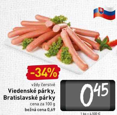 Viedenské párky. Bratislavské párky 100 g