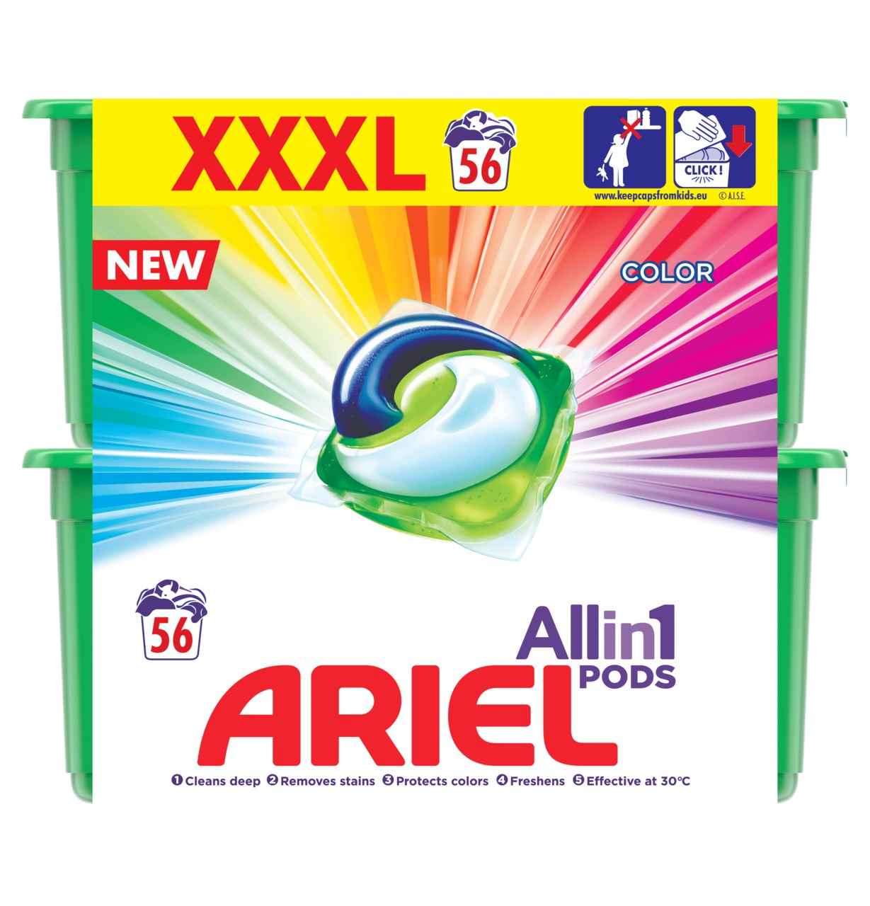 Ariel Color gelové tablety 56 praní 2x28 ks
