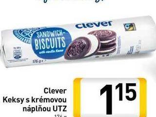 Clever Keksy s krémovou náplňou UTZ  176 g