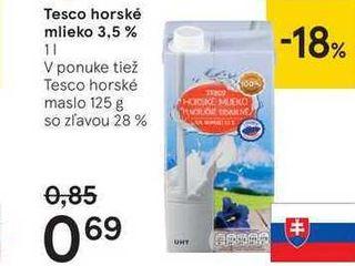 Tesco horské mlieko 3,5 %, 1 l