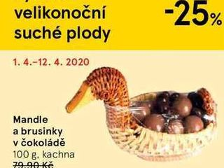 Mandle a brusinky v čokoládě, 100 g