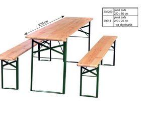 Pivná sada (stôl, lavice) tmavozelená 220x70cm Metro Professional 3ks