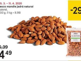 Tesco mandle jadrá natural, 500 g