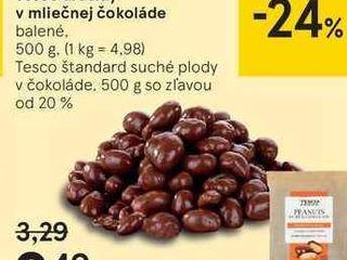 Tesco arašidy v mliečnej čokoláde, 500 g